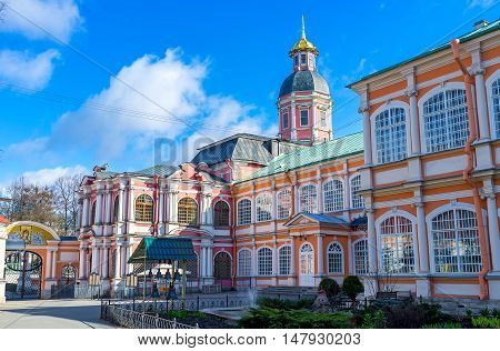 The Church of the Annunciation of the Alexander Nevsky Lavra is the oldest preserved temple of Saint Petersburg Russia.