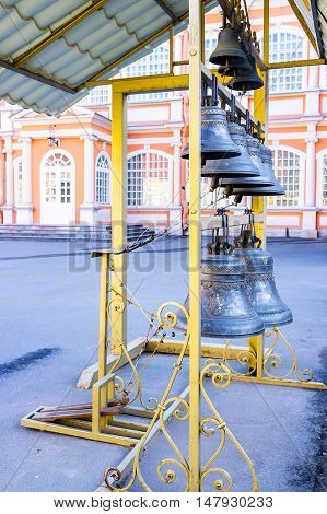 The monastery bells in Alexander Nevsky Lavra Saint Petersburg Russia.