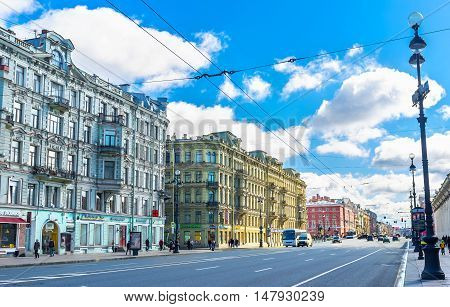 SAINT PETERSBURG RUSSIA - APRIL 25 2015: The Nevsky Prospect is the central city street planned by Peter the Great here located a lot of architectural landmarks on April 25 in Saint Petersburg.