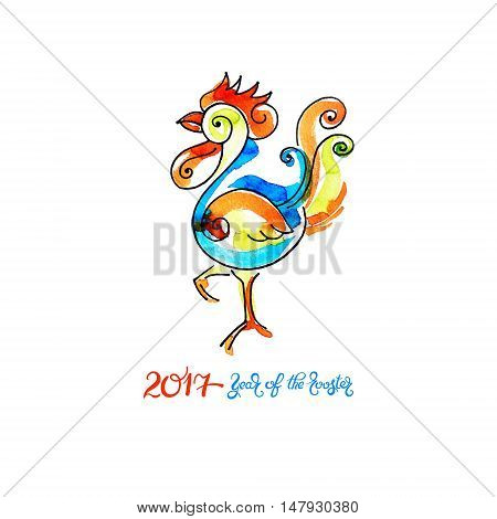 original watercolor design for new year celebration chinese zodiac signs with decorative rooster, vector illustration with hand written lettering inscription - 2017 year of the rooster