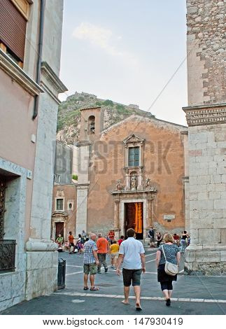 TAORMINA ITALY - OCTOBER 1 2012: The Church of Santa Caterina di Alessandria is one of the tourist landmarks in old town on October 1 in Taormina.
