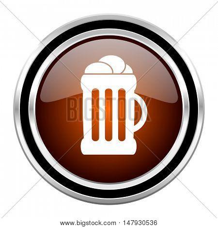 beer round circle glossy metallic chrome web icon isolated on white background