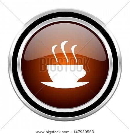 espresso round circle glossy metallic chrome web icon isolated on white background