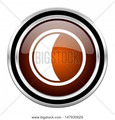moon round circle glossy metallic chrome web icon isolated on white background