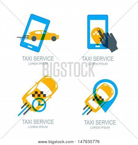Set of vector online taxi service logo icons and symbol. Human hand with mobile phone. Taxi app concept. Taxi cab location point. Call taxi via smartphone.