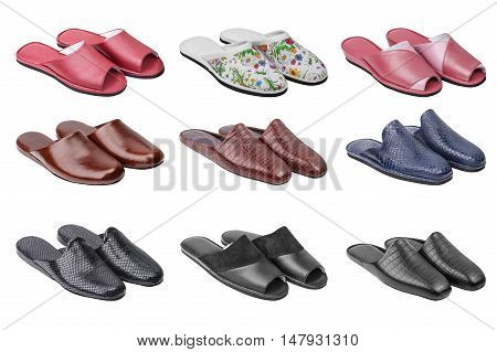 Set of shoes collection of female and male slippers isolated on white background