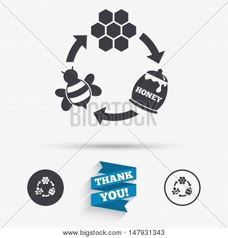 Producing honey and beeswax sign icon. Honeycomb cells symbol. Honey in pot. Sweet natural food cycle in nature. Flat icons. Buttons with icons. Thank you ribbon. Vector