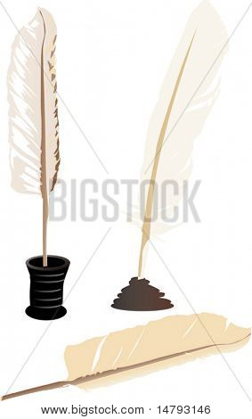 illustration with feathers and ink-pots isolated on white background