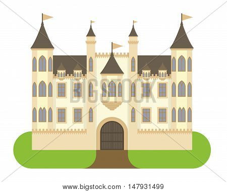 Cartoon fairy tale castle tower icon. Cute cartoon castle architecture. Vector illustration fantasy house fairytale medieval castle. Princess cartoon castle cartoon stronghold design fable isolated
