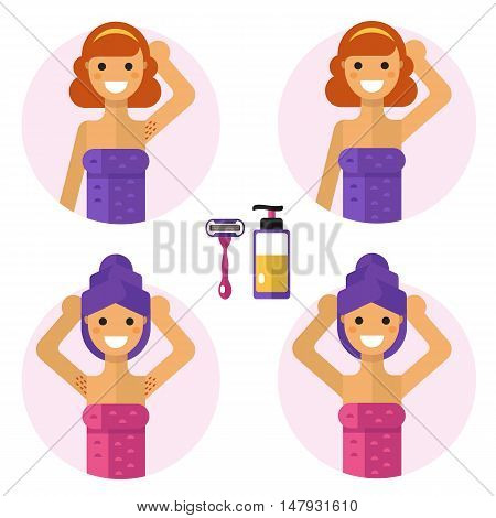 Flat design vector illustration of armpits depilation with razor and soap or gel. Smiling girls in towel are demonstrating results of of hair removal. Body care, health and beauty icons concept.