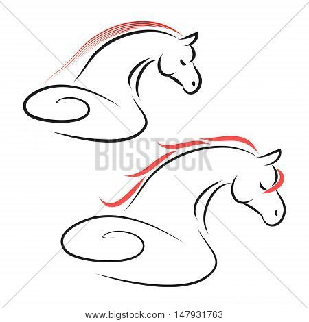 The sign of a horse on a white background from the black lines abstract image of a stallion vector illustration