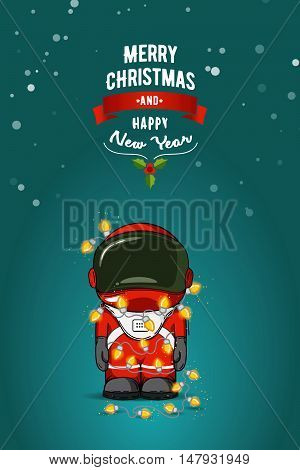 Hand Drawn Flat Vector Illustration. Cartoon Astronaut In Spacesuit With Garland Of Christmas Lights