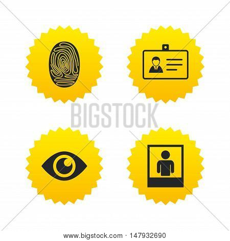 Identity ID card badge icons. Eye and fingerprint symbols. Authentication signs. Photo frame with human person. Yellow stars labels with flat icons. Vector