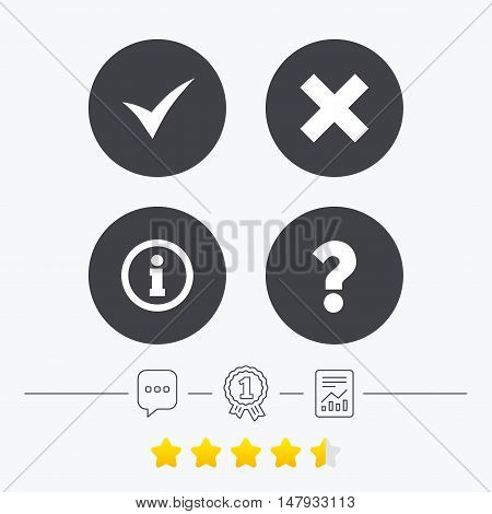 Information icons. Delete and question FAQ mark signs. Approved check mark symbol. Chat, award medal and report linear icons. Star vote ranking. Vector