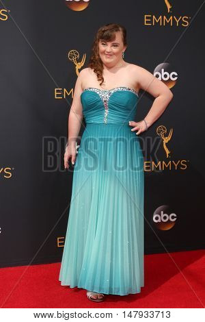 LOS ANGELES - SEP 18:  Jamie Brewer at the 2016 Primetime Emmy Awards - Arrivals at the Microsoft Theater on September 18, 2016 in Los Angeles, CA