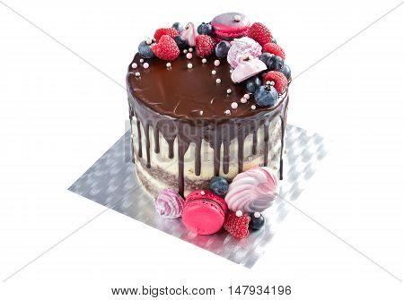 Birthday chocolate cake isolated on white background