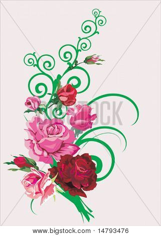 illustration with pink roses on light background