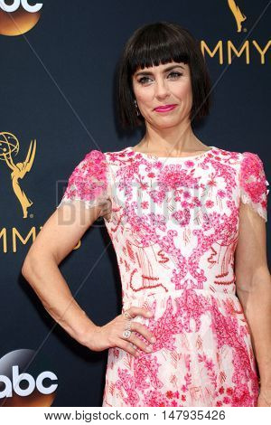 LOS ANGELES - SEP 18:  Constance Zimmer at the 2016 Primetime Emmy Awards - Arrivals at the Microsoft Theater on September 18, 2016 in Los Angeles, CA