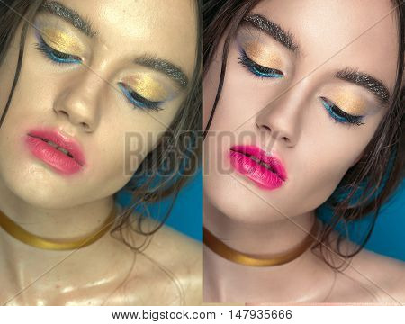 Woman Before And After Digital Makeup And Retouching Makeover On Face. Transformation Concept.