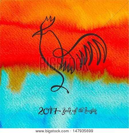 original one line design for new year celebration chinese zodiac signs cockerel on watercolor background, vector illustration with hand written lettering inscription - 2017 year of the rooster