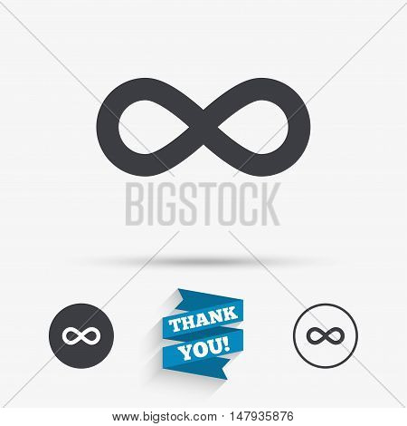 Limitless sign icon. Infinity symbol. Flat icons. Buttons with icons. Thank you ribbon. Vector