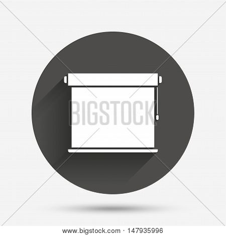 Louvers rolls sign icon. Window blinds or jalousie symbol. Circle flat button with shadow. Vector