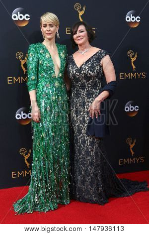 LOS ANGELES - SEP 18:  Sarah Paulson, Marcia Clark at the 2016 Primetime Emmy Awards - Arrivals at the Microsoft Theater on September 18, 2016 in Los Angeles, CA