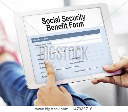 Social Security Benefit Form Concept