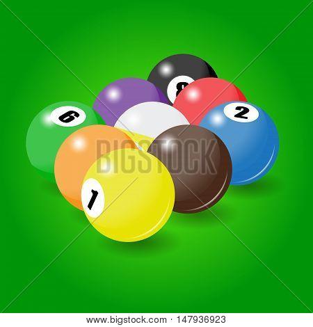 Billiard Balls Start Position For Nine-pool Game
