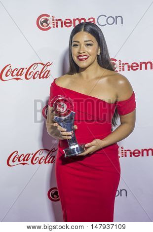 LAS VEGAS - APRIL 14 : Actress Gina Rodriguez recipient of the Female Star of Tomorrow Award attends the CinemaCon Big Screen Achievement Awards at The Caesars Palace on April 14 2016 in Las Vegas