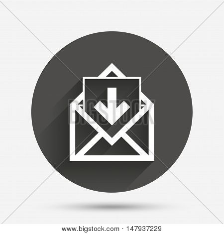Mail icon. Envelope symbol. Inbox message sign. Mail navigation button. Circle flat button with shadow. Vector