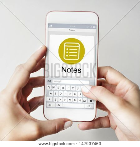 Notes Message Icon Wepage Concept