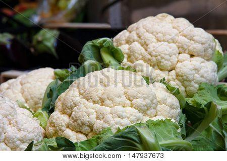 cauliflower exhibited on a street market stand