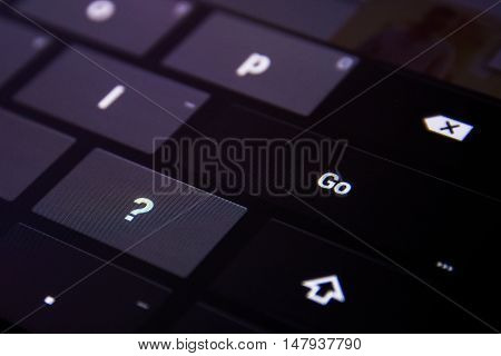 Go Enter Button Digital Keyboard Flat Keys Buttons Press Finger Black