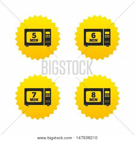 Microwave oven icons. Cook in electric stove symbols. Heat 5, 6, 7 and 8 minutes signs. Yellow stars labels with flat icons. Vector