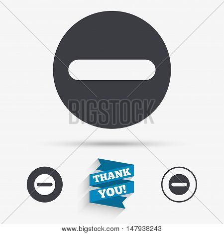 Minus sign icon. Negative symbol. Zoom out. Flat icons. Buttons with icons. Thank you ribbon. Vector