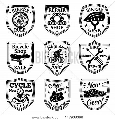 Bicycle badges vector set. With chain, wheel, helmet, biker, instruments gear map saddle
