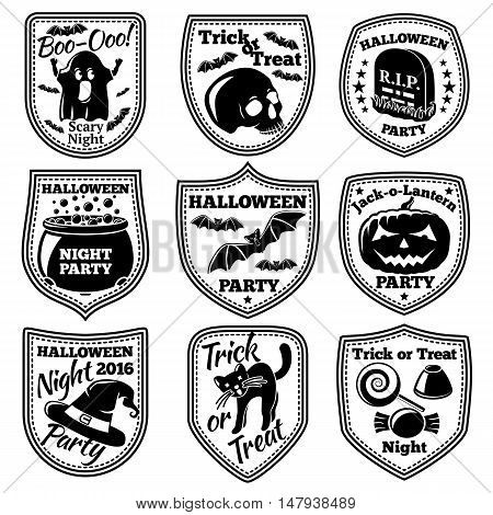 Vector Halloween labels set. With pumpkin, skull, ghost, cauldron, bat witch hat cat etc