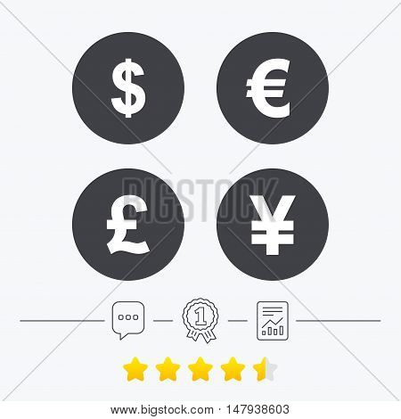 Dollar, Euro, Pound and Yen currency icons. USD, EUR, GBP and JPY money sign symbols. Chat, award medal and report linear icons. Star vote ranking. Vector