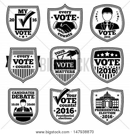 Vector set of vote labels. For presidential election, debates, ads etc