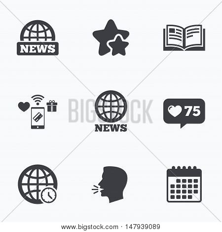 News icons. World globe symbols. Open book sign. Education literature. Flat talking head, calendar icons. Stars, like counter icons. Vector