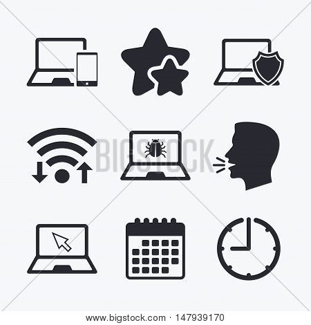 Notebook laptop pc icons. Virus or software bug signs. Shield protection symbol. Mouse cursor pointer. Wifi internet, favorite stars, calendar and clock. Talking head. Vector