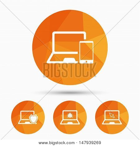 Notebook laptop pc icons. Virus or software bug signs. Shield protection symbol. Mouse cursor pointer. Triangular low poly buttons with shadow. Vector