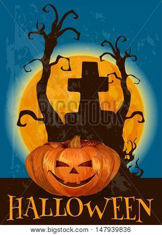 Halloween poster with traditional scary pumpkin lantern with candles. Midnight full moon with silhouette of tree and tomb grravestone with cross on cemetery graveyard. Vector template for Halloween invitation and greeting card