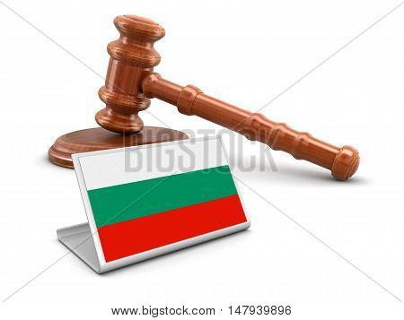 3D Illustration. 3d wooden mallet and Bulgarian flag. Image with clipping path