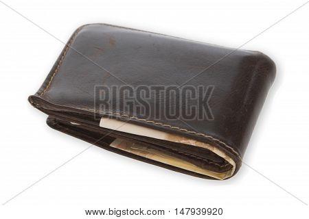 Brown wallet on bright background. Shot in Studio.