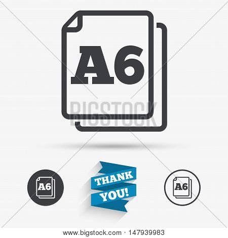 Paper size A6 standard icon. File document symbol. Flat icons. Buttons with icons. Thank you ribbon. Vector