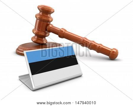 3D Illustration. 3d wooden mallet and Estonian flag. Image with clipping path