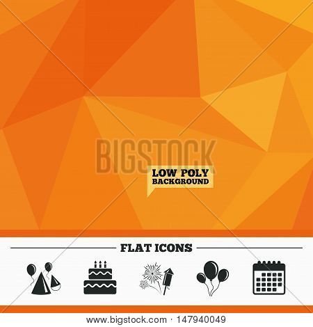 Triangular low poly orange background. Birthday party icons. Cake, balloon, hat and muffin signs. Fireworks with rocket symbol. Double decker with candle. Calendar flat icon. Vector