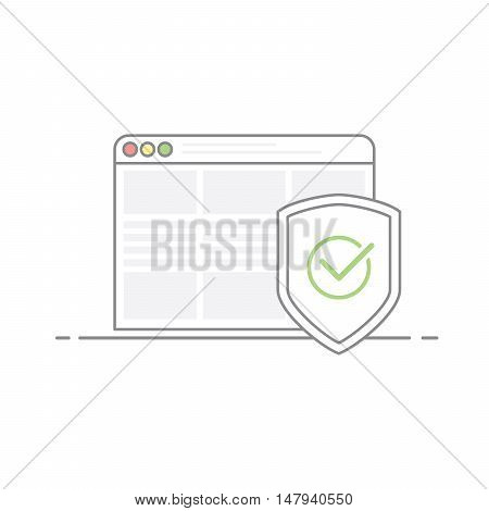 Concept of Internet security. Shield image with a green check mark in the browser background. Protection against viruses and malware. Vector illustration in linear style isolated on white background